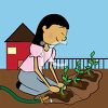 A woman in a garden clipart