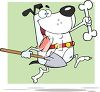 A dog going to bury a bone clipart