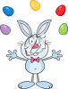 The easter bunny is juggling eggs clipart