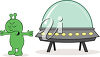 An alien and a ufo clipart