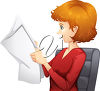 A redheaded woman reading a paper clipart