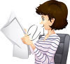A brunette woman reading a paper clipart