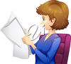 A blonde woman reading a paper clipart
