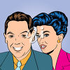 A retro couple clipart