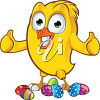 A chick and easter eggs clipart