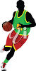 A man playing basketball clipart