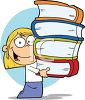 A girl carrying books clipart