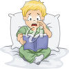 A sad child holding a book clipart