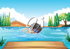 A child swimming by a dock clipart