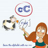 A girl and the letter c clipart