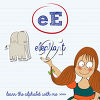 A girl and the letter e clipart