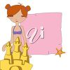 A girl behind a sandcastle clipart