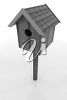 Clipart Illustration of a Birdhouse on a Post