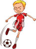 A boy playing soccer clipart