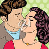 A couple about to kiss clipart