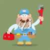 A plumber with tools clipart