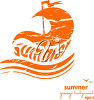 The word summer in a sailboat clipart