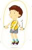 A boy jumping rope clipart