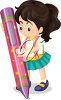 A girl with a big crayon clipart