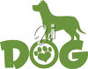A dog over the word dog clipart