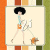 A woman walking a dog clipart