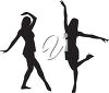 Silhouettes of dancing women clipart