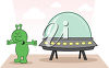 An alien spaceship clipart