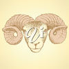 A ram's head on pale yellow clipart