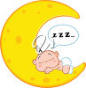 A crescent moon with a baby sleeping on it clipart