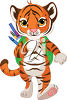 A tiger wearing a backpack clipart