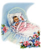A baby in a bassinet clipart