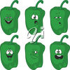A group of cartoon peppers clipart