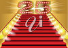Red carpeted stairs and a number clipart