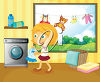 A girl in a laundry room clipart
