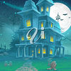 A haunted house at night clipart
