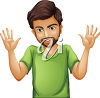 A man with his hands up clipart