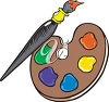 A palette and brush clipart
