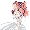 A woman in a gown clipart