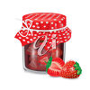 A jar of fruit jam and fruit clipart