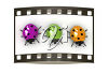 Three ladybugs on film clipart