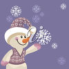A snowman with a snowflake clipart