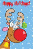 A cartoon deer with a red nose clipart