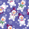 A background of snowmen and snowflakes clipart