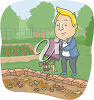 A cartoon man in a garden clipart