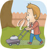 A man out cutting the lawn clipart