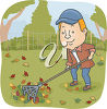 A man raking leaves clipart