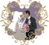 A bride and groom kissing clipart