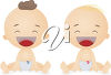 Two happy babies clipart