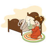 A girl saying her prayers at bedtime clipart