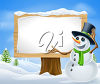 A snowman beside a sign clipart